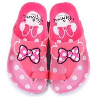 【童鞋城堡】Disney 迪士尼 中童 米妮甜美軟木風格拖鞋(454722-桃)