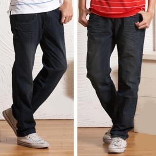 【RH】鬆緊褲頭刷破牛仔褲雙件組(帥氣活力藍超值雙件組)