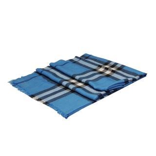 【BURBERRY】輕盈格紋初羊毛絲綢大披肩/圍巾 淺靛藍(3921778-LIG IND CHECK)