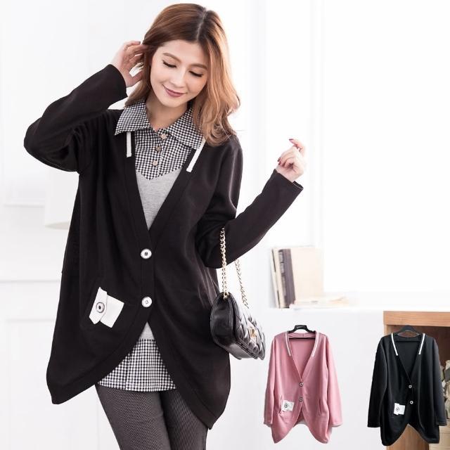 【衣心衣意中大尺碼】韓系嚴選OL長版外套(黑色粉色A3565)