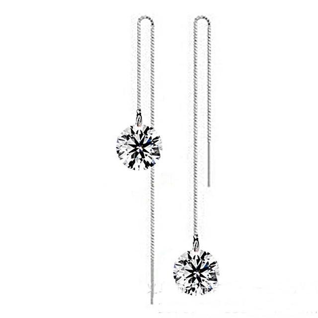 【梨花HaNA】韓國925銀針單顆美鑽光芒流線耳環