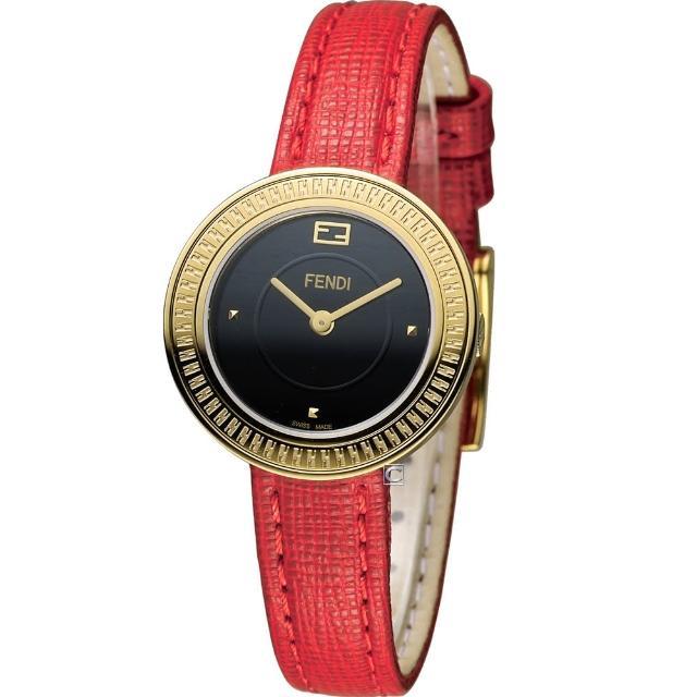 【FENDI】MY WAY 芬迪 輕盈美學時尚腕錶(F350421073 黑x紅)