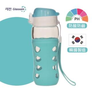 【GLASSOM】韓國POP防漏玻璃水瓶450ml(天空藍)