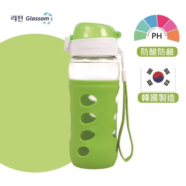 【GLASSOM】韓國POP防漏玻璃水瓶450ml(蘋果綠)