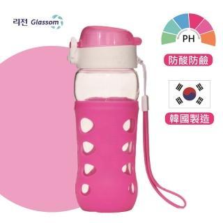 【GLASSOM】韓國POP防漏玻璃水瓶450ml(櫻桃粉)