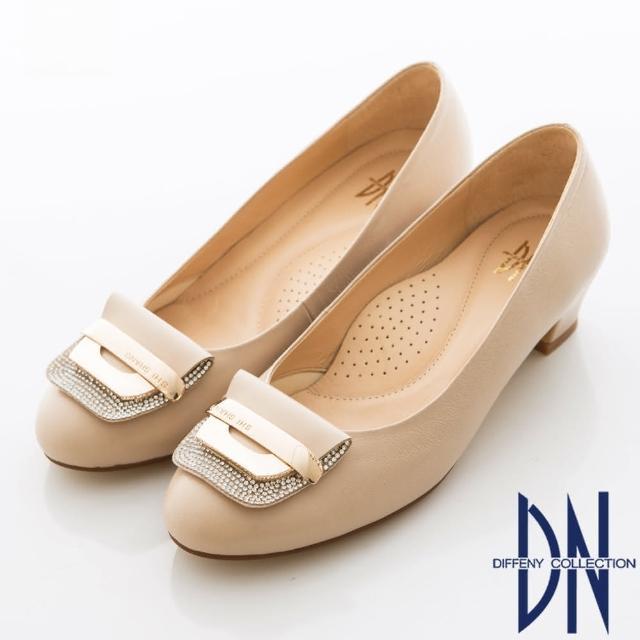 【DN】柔軟減壓 羊皮鑽飾優雅百搭跟鞋(可可)