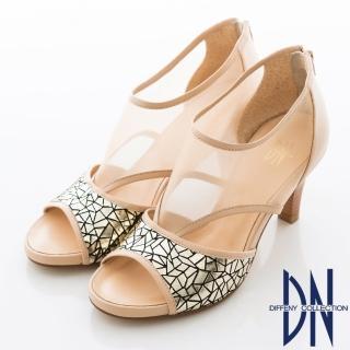 【DN】沁涼夏季 性感簍空羊皮高跟涼鞋(裸)