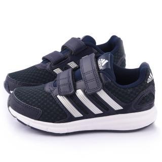 【Adidas】中大童 魔鬼氈輕量運動跑鞋(M25889-黑)