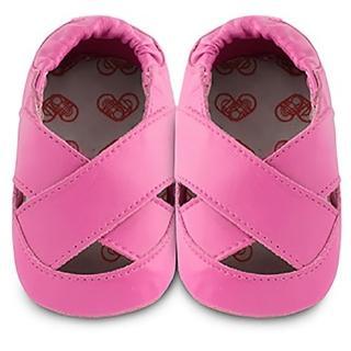 【英國 shooshoos】安全無毒真皮健康手工學步鞋/嬰兒鞋 馬卡龍交叉涼鞋 莓紅(公司貨)