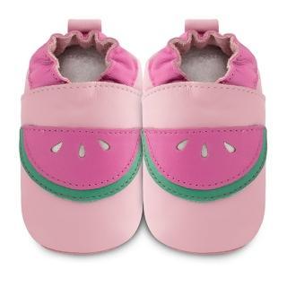 【英國 shooshoos】安全無毒真皮健康手工學步鞋/嬰兒鞋 粉紅西瓜(公司貨)