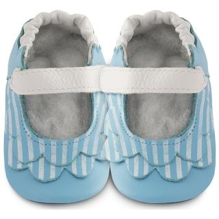 【英國 shooshoos】安全無毒真皮健康手工學步鞋/嬰兒鞋 湛藍荷葉條紋(公司貨)
