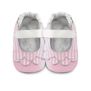 【英國 shooshoos】安全無毒真皮健康手工學步鞋/嬰兒鞋 淡粉荷葉條紋(公司貨)