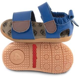 【英國 shooshoos】健康無毒真皮手工學步鞋/童鞋_寶藍開放式涼鞋(適合走路平順、跑跳小童)