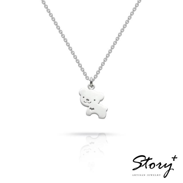 【Story Accessory】祈福項鍊 卡片銀飾小熊款