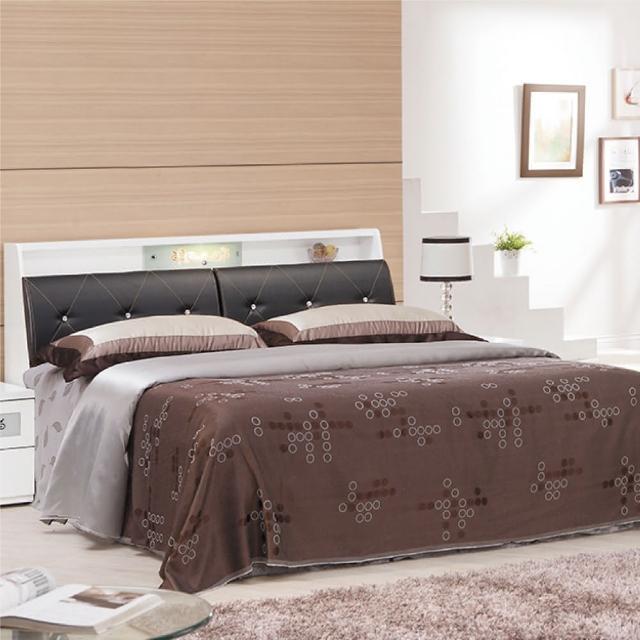 【綠活居】麥利文   5尺白色皮革雙人床台(不含床墊)