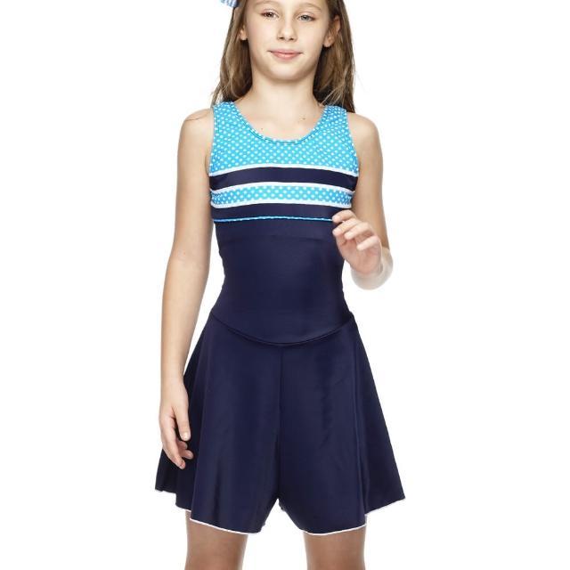 【聖手牌】橫紋紋飾連身褲裙式少女泳裝(A88413)
