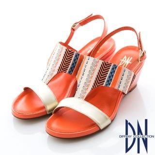 【DN】夏日異國風 MIT牛皮繫踝楔型涼鞋(橘)