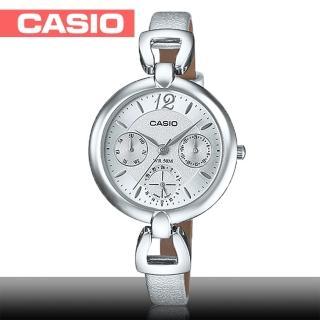 【CASIO 卡西歐】日系銀系列-小徑面造型皮革女錶(LTP-E401L)