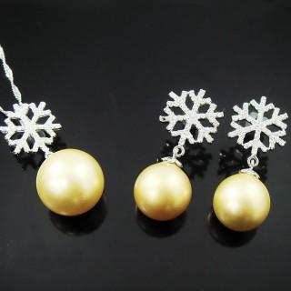 【蕾帝兒名品】雪戀金色貝珠套組