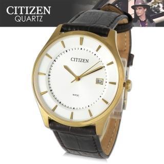 【CITIZEN 日本星辰】日系經典款-皮革指針男錶(BD0042-01A)