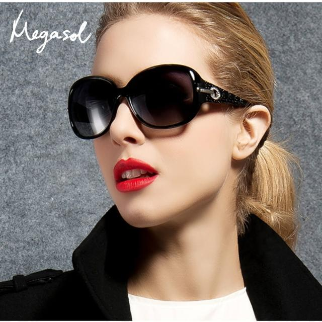 【MEGASOL】寶麗萊UV400偏光太陽眼鏡(設計師晶鑽款MS6214-5色任選)