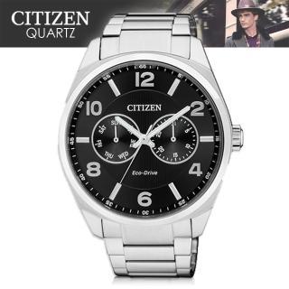 【CITIZEN 日系星辰】光動能 日期 星期 不鏽鋼 紳士錶(AO9020-50E)