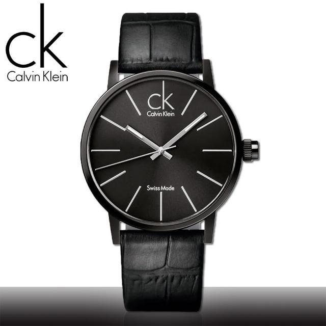 【瑞士 CK手錶 Calvin Klein】黑面 不鏽鋼錶殼 皮革錶帶 時尚男錶(K7621401)