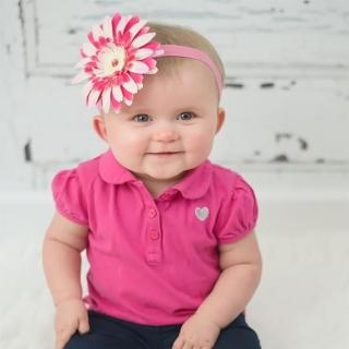 【美國Jamie Rae】女童/女寶寶 100純棉髮帶 糖果粉細髮帶+粉覆盆子雛菊(JRFBD06)