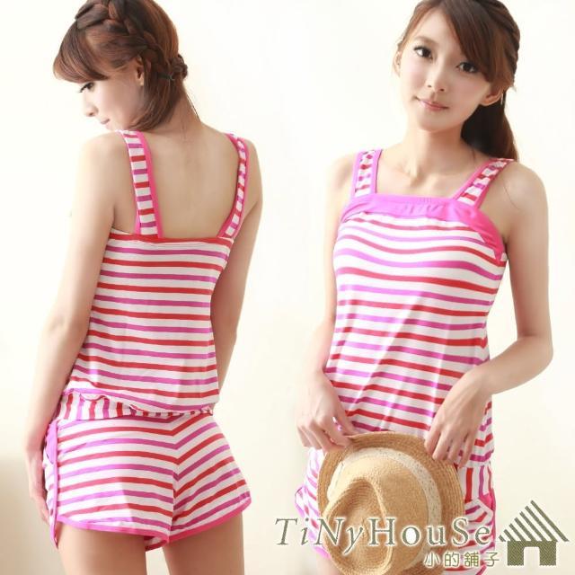 【TiNyHouSe】兩件式條紋口袋短褲泳裝 粉系條紋(M,L尺碼可選)T-387