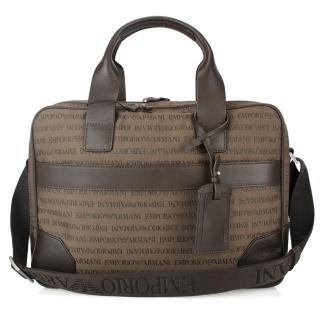 【EMPORIO ARMANI】經典刺繡LOGO織布手提肩背兩用公事包(咖啡色)