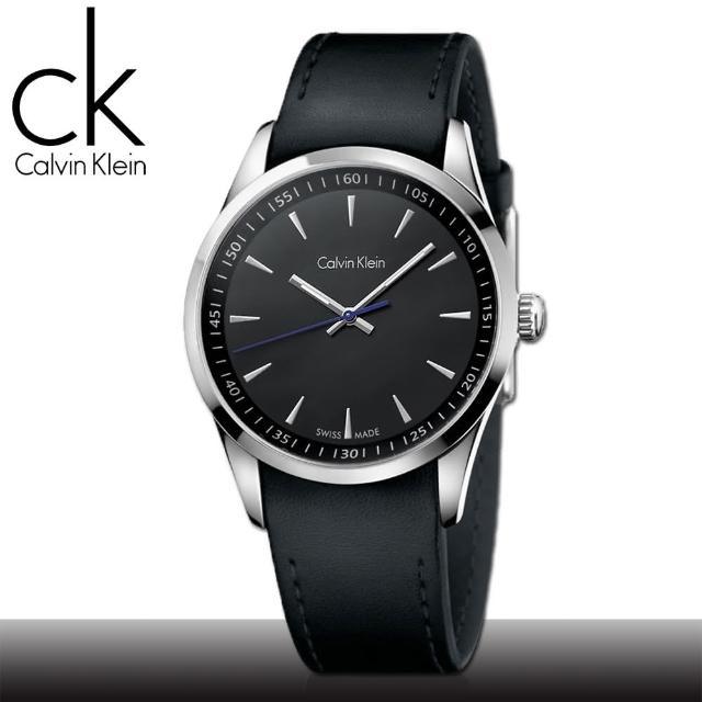 【瑞士 CK手錶 Calvin Klein】黑面 不鏽鋼錶殼 皮革錶帶 時尚男錶(K5A311C1)