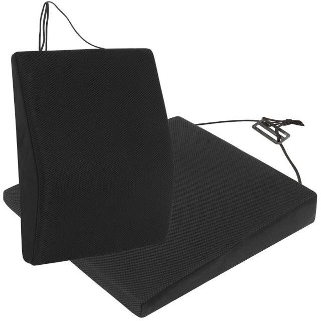【源之氣】竹炭透氣記憶可調式腰墊+透氣斜坡記憶坐墊組合(9447+9448)/