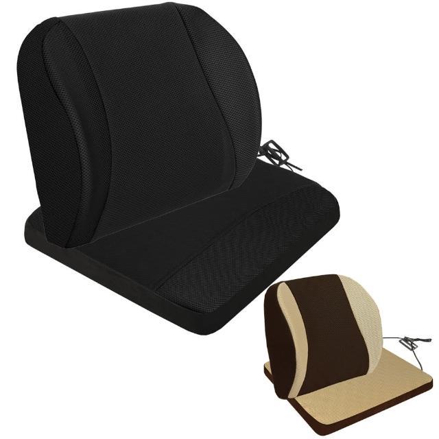 【源之氣】竹炭記憶透氣加強護腰+透氣加強記憶坐墊/二色可選(9449+9450)/