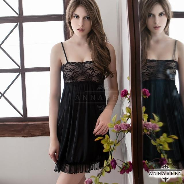 【Annabery】大尺碼Annabery性感黑浪漫百褶柔緞睡衣