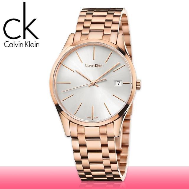 【瑞士 CK手錶 Calvin Klein】玫瑰金 日期 藍寶石玻璃 淑女錶(K4N23646)