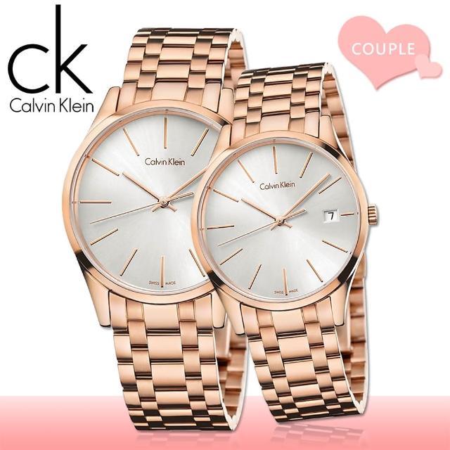 【瑞士 CK手錶 Calvin Klein】甜蜜浪漫情侶對錶(K4N21646+K4N23646)