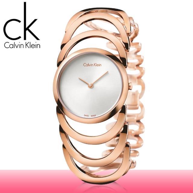 【瑞士 CK手錶 Calvin Klein】玫瑰金 手環式 不鏽鋼 淑女錶(K4G23626)