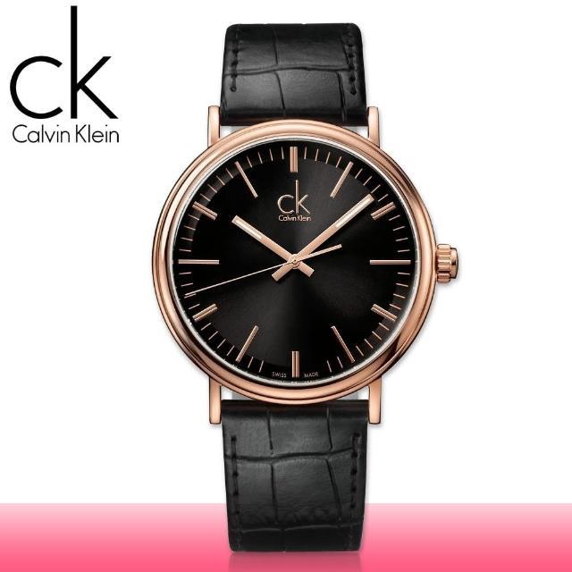 【瑞士 CK手錶 Calvin Klein】玫瑰金系列 氣質皮革女錶(K3W216C1)