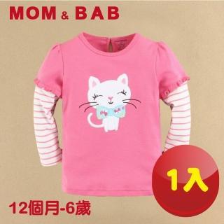 【MOM AND BAB】可愛貓咪圓領T恤長袖純棉上衣(12M-6T)