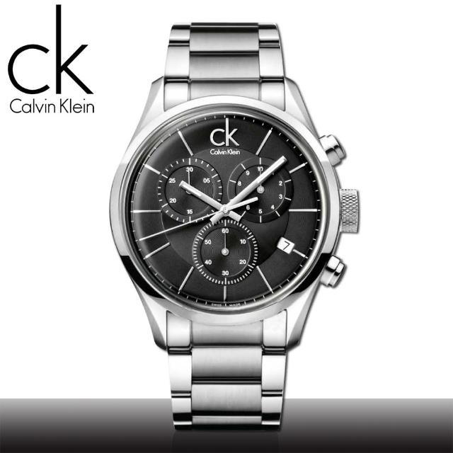 【瑞士 CK手錶 Calvin Klein】計時碼錶_日期_強化玻璃_不鏽鋼男錶(K2H27104)