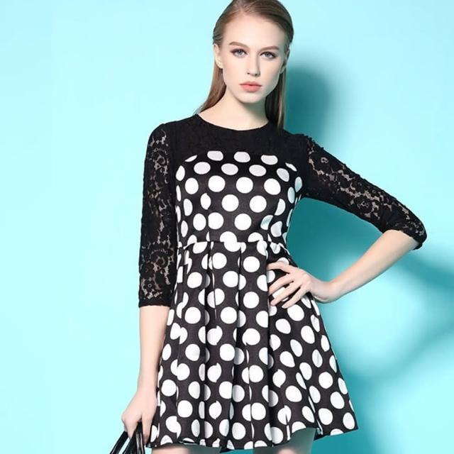 【a la mode 艾拉摩兒】圓點印花蕾絲拼接洋裝七分袖連衣裙洋裝(S-XL)