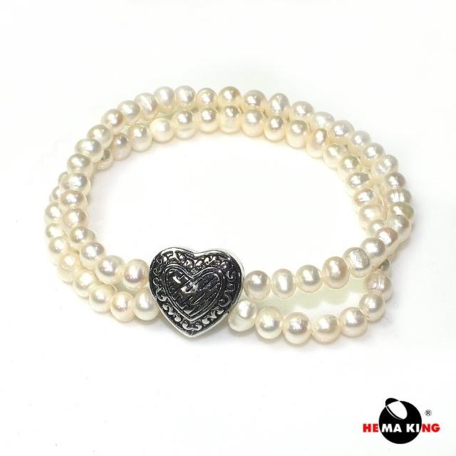 【HEMAKING】5mm 珍珠愛心雙環手鍊