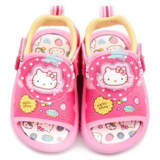 【三麗鷗】Hello Kitty 中童 LED電燈雙魔鬼氈涼鞋(815724-桃)