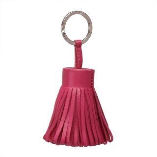 ~HERMES~流蘇造形山羊皮鑰匙圈手袋吊飾 玫瑰粉H327108AT5~ROSE