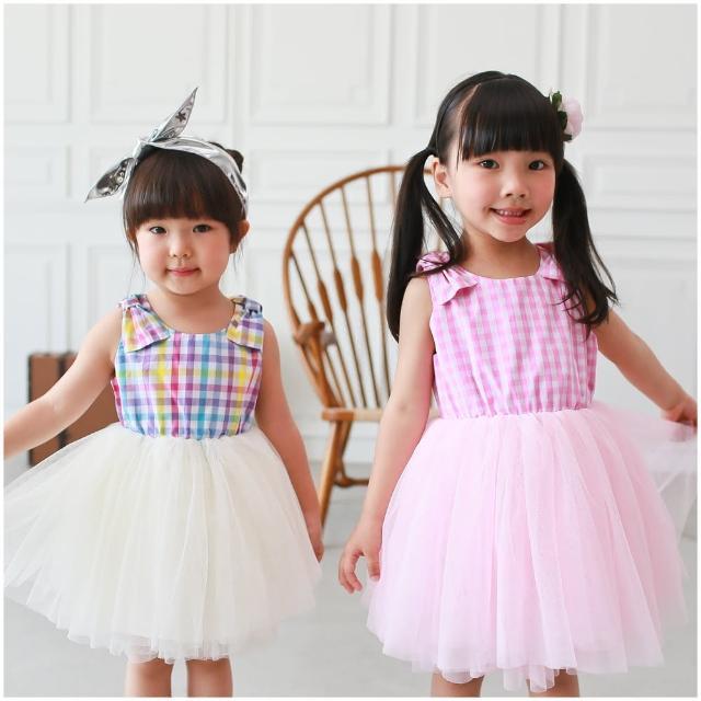【baby童衣】兒童洋裝 格紋蝴蝶結蕾絲紗裙 52266(共二色)