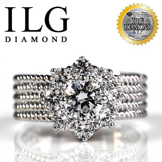 【ILG鑽】頂級八心八箭擬真鑽石戒指-愛的焦點款 RI020 主鑽約75分 華麗焦點(白K金色)