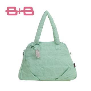 【法國 B+B】時尚純靜多功能媽媽包(淺紫/綠)