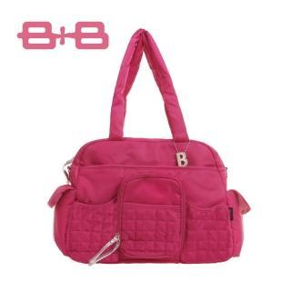 【法國 B+B】休閒B媽媽空氣包/尿布墊保溫袋大空間肩揹側背媽咪包(寶石藍/紅/黑/水藍)