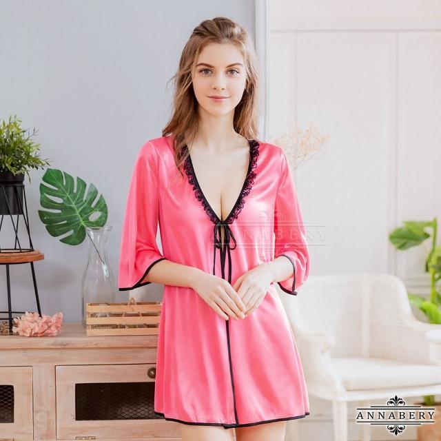 【Annabery】大尺碼Annabery艷桃柔緞五分袖二件式罩衫丁褲組