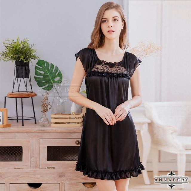 【Annabery】大尺碼Annabery黑色緹花小蓋袖柔緞睡衣